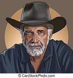 An old wise cowboy in a hat.