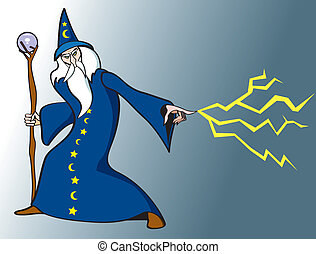 Wizard - An old Wizard casting a spell.
