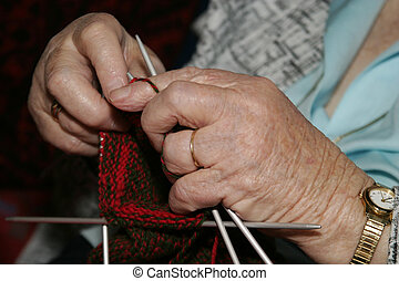 Knitting - An old woman Knitting