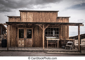 An old wooden american western style building