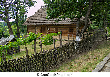 An old wooden house with a thatched roof with trees growing in the yard behind the fence from the vine.