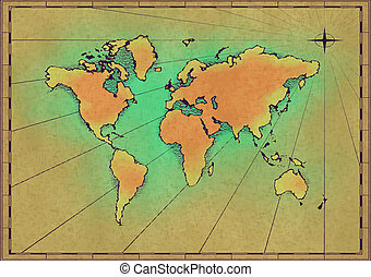 Old world map illustrations and clip art 9403 old world map old world map an old world map drawn onto parchment paper gumiabroncs Images