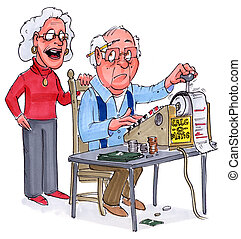 adding up - an older couple adding up future expenses