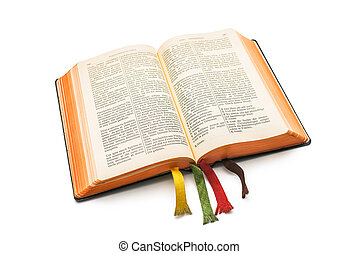 an open Bible isolated on a white background