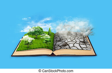 An open book. Bipolarity. On one side, nature, on another...