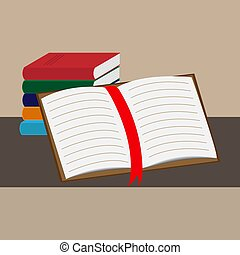 An open book is leaning against a stack of books.