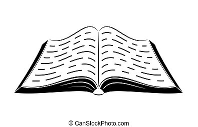 An open book on the table. Simple black outlines. Logo or emblem of a bookstore or knowledge base.
