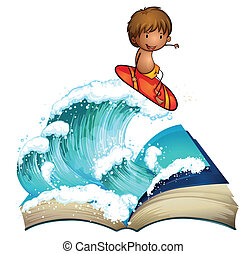 An open book with a boy surfing