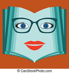 An open book with a woman face. Talking book, library. The educational system, the teacher.