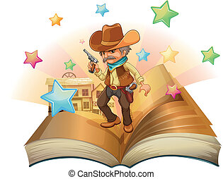 An open book with an armed cowboy - Illustration of an open...