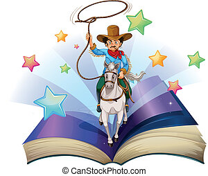 Illustration of an open book with an image of a cowboy riding on a horse on a white background