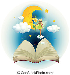 An open book with an image of a fairy and a sleeping moon
