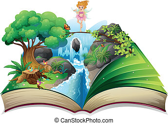 An open book with an image of a fairy land