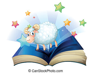 An open book with an image of a sheep