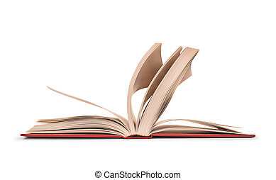 an open book with the leaves in motion on isolated on white background