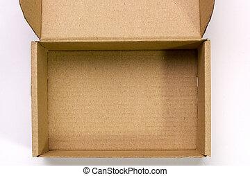 An open cardboard box