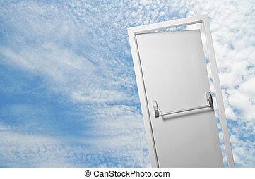 An open door in the blue cloudy sky, door to the new world, spiritual door to other realms