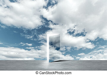 An open door to a new life in heaven. The concept of success, new life, hope.