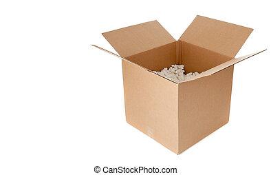 An open empty cardboard box