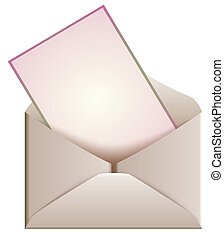 an open envelop and card - a pink card in an open envelop, ...