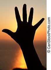 An open hand in front of the sun