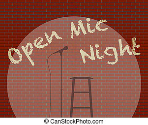 Open Mic Night - An Open Mic Night With Spotlight on guitar,...