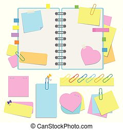 An open organizer with clean sheets on a spiral and with bookmarks. A set of stickers and paper for notes. Colorful flat vector illustration isolated on white background. With space for text or image.
