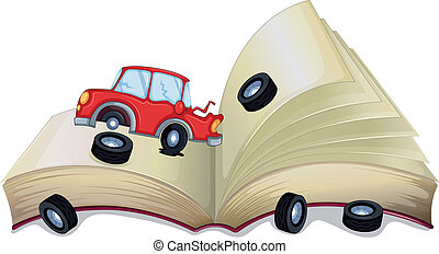 An open storybook with a broken car - Illustration of an...