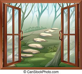 An open window - Illustration of an open window