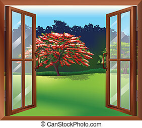 An open window with a view of the big tree