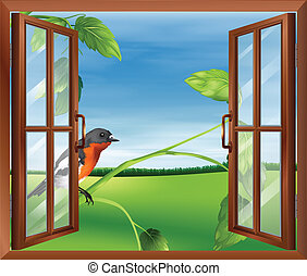 An open window with a view of the bird outside