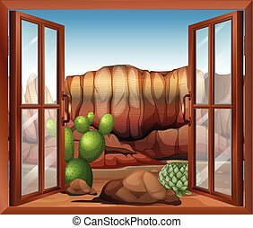 An open window with a view of the desert and the cactus plants