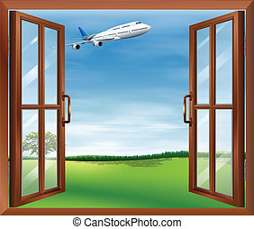 An open window with a view of the plane - Illustration of an...