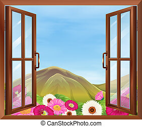 An open window with flowers outside - Illustration of an...