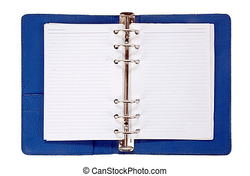 an opened blue leather notebook