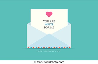 an opened letter with heart message on blue background