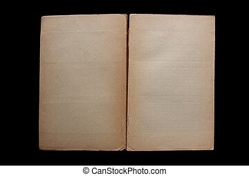 an opened, old book with blank yellow stained pages