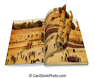 An opened old book with curl a picture Western Wall, Temple Mount, Jerusalem. Photo in old color image style.