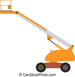 Cherry Picker - An Orange and Gray Cherry Picker Mobile Lift...