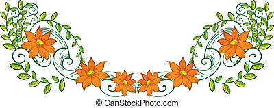 An orange and green border - Illustration of an orange and...