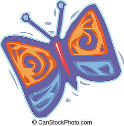 An orange and purple colored butterfly