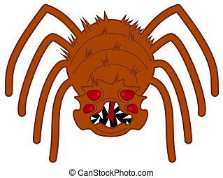 an orange and very scary spider