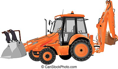 Bucket Excavator - An Orange Bucket Excavator and Backhoe ...