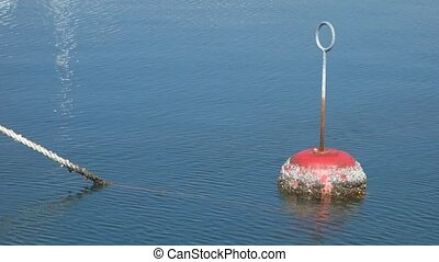 An orange buoy floating in the sea