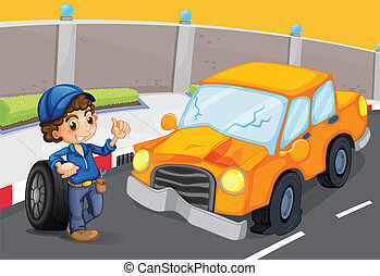 An orange car at the road with a flat tire - Illustration of...