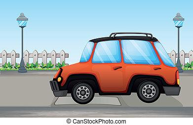 An orange car - Illustration of an orange car