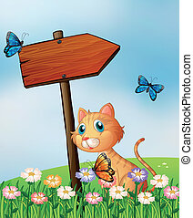 An orange cat with a wooden arrow board