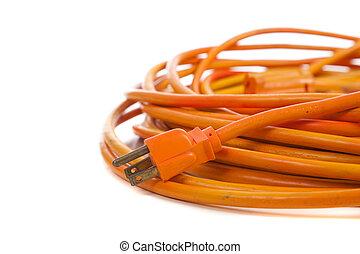 An orange extension cord on white