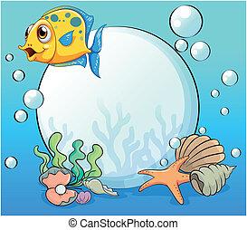 An orange fish near the big pearl