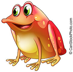 An orange frog with green eyes - Illustration of an orange...